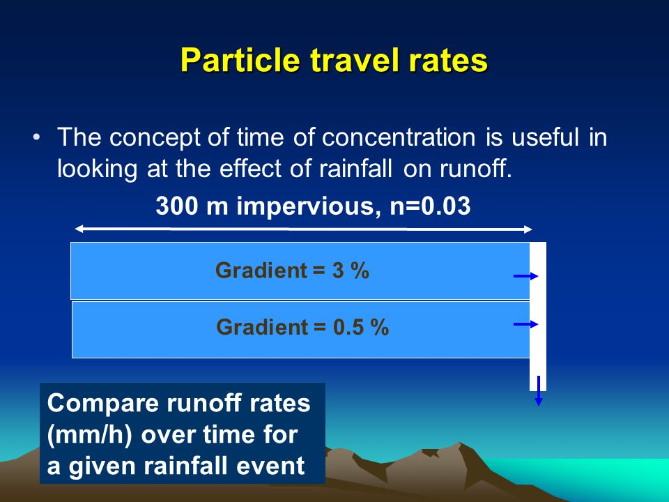 The concept of time of concentration is useful in looking at the effect of rainfall on runoff.