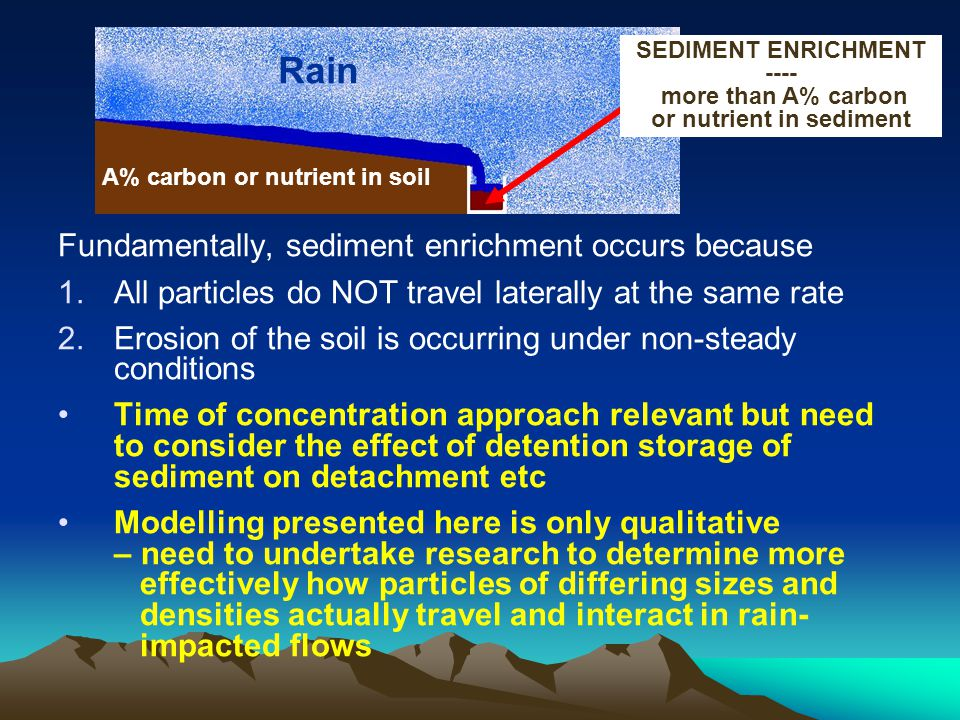 Fundamentally, sediment enrichment occurs because 1.All particles do NOT travel laterally at the same rate 2.Erosion of the soil is occurring under non-steady conditions Time of concentration approach relevant but need to consider the effect of detention storage of sediment on detachment etc Modelling presented here is only qualitative – need to undertake research to determine more effectively how particles of differing sizes and densities actually travel and interact in rain- impacted flows A% carbon or nutrient in soil SEDIMENT ENRICHMENT ---- more than A% carbon or nutrient in sediment Rain