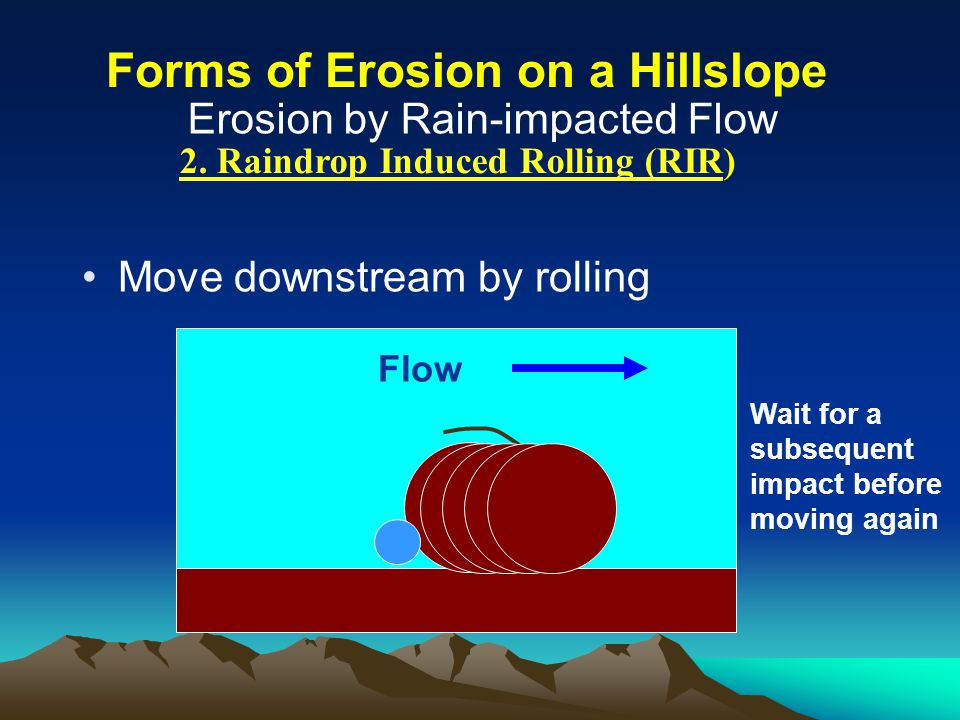 2. Raindrop Induced Rolling (RIR) Move downstream by rolling Flow Wait for a subsequent impact before moving again Erosion by Rain-impacted Flow Forms