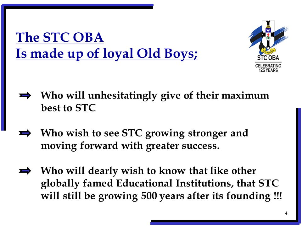 The STC OBA Is made up of loyal Old Boys; Who will unhesitatingly give of their maximum best to STC Who wish to see STC growing stronger and moving forward with greater success.