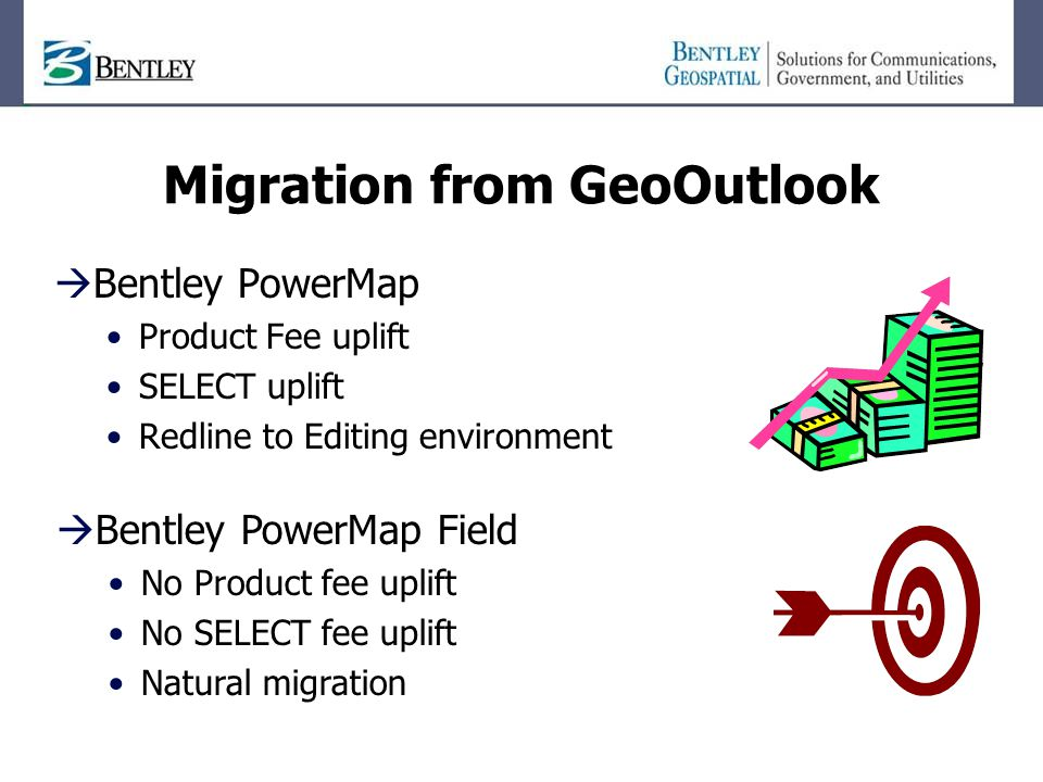 Migration from GeoOutlook  Bentley PowerMap Product Fee uplift SELECT uplift Redline to Editing environment  Bentley PowerMap Field No Product fee uplift No SELECT fee uplift Natural migration