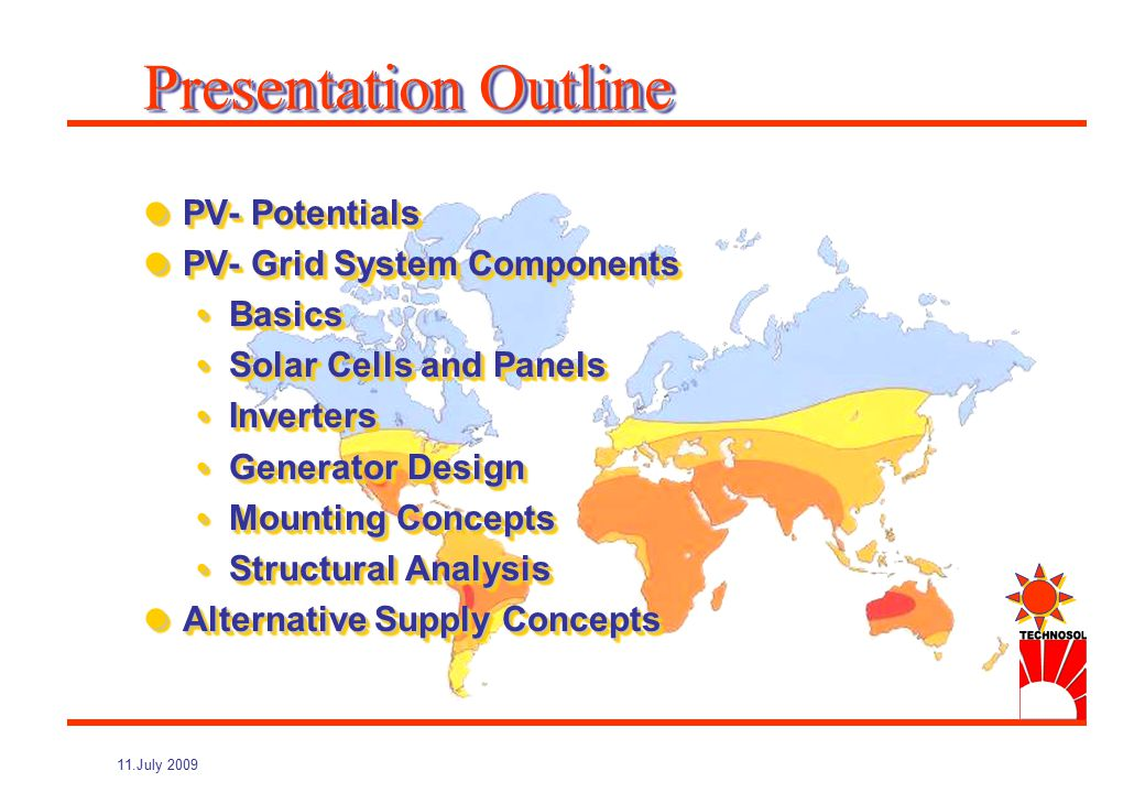 Small-Utility-Scale PV Generation : Concepts and Installation of Grid Connected PV Systems NIUE, July 2009 Dipl.-Ing.