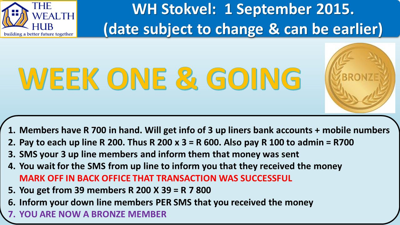 WH Stokvel: 1 September 2015. WH Stokvel: 1 September 2015. (date subject to change & can be earlier) (date subject to change & can be earlier) WH Sto