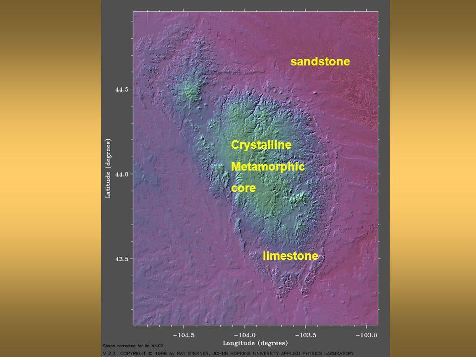 sandstone limestone Crystalline Metamorphic core