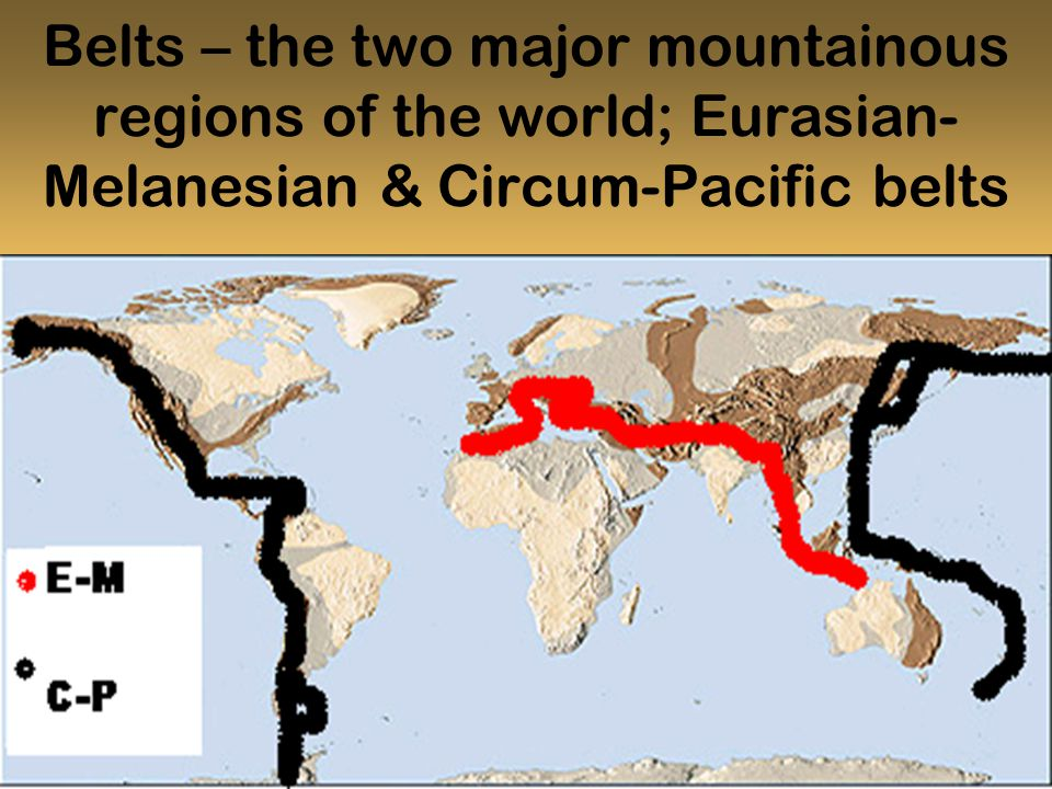 Belts – the two major mountainous regions of the world; Eurasian- Melanesian & Circum-Pacific belts