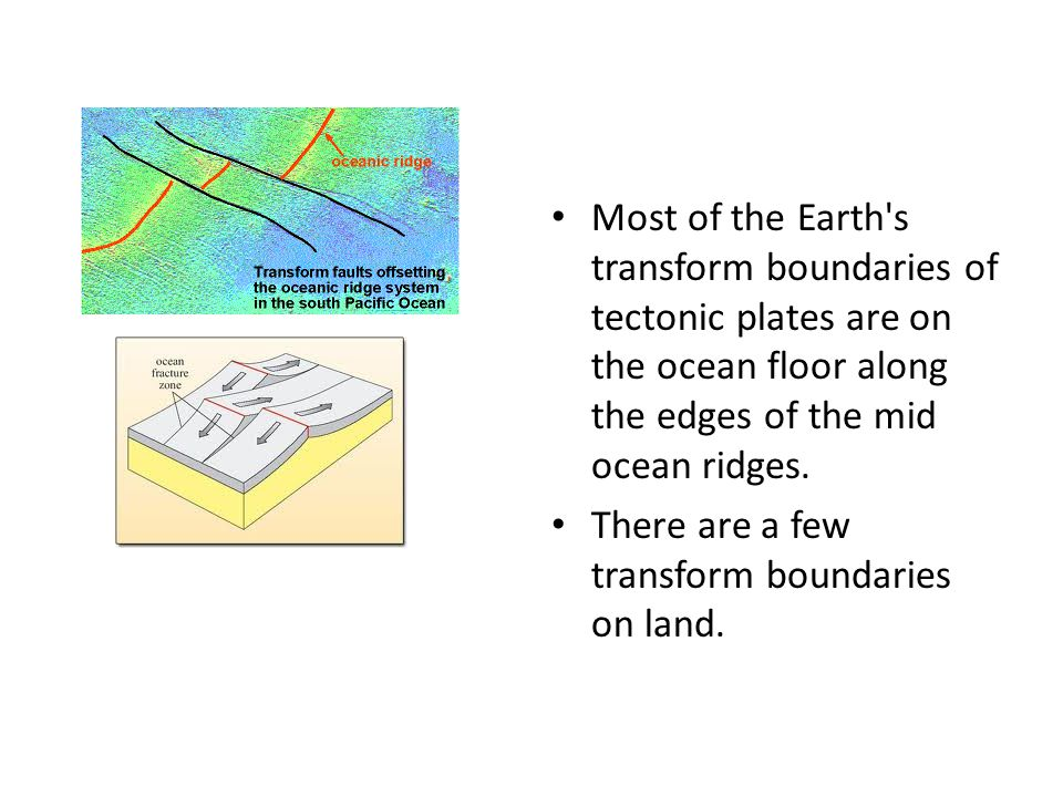 Most of the Earth s transform boundaries of tectonic plates are on the ocean floor along the edges of the mid ocean ridges.