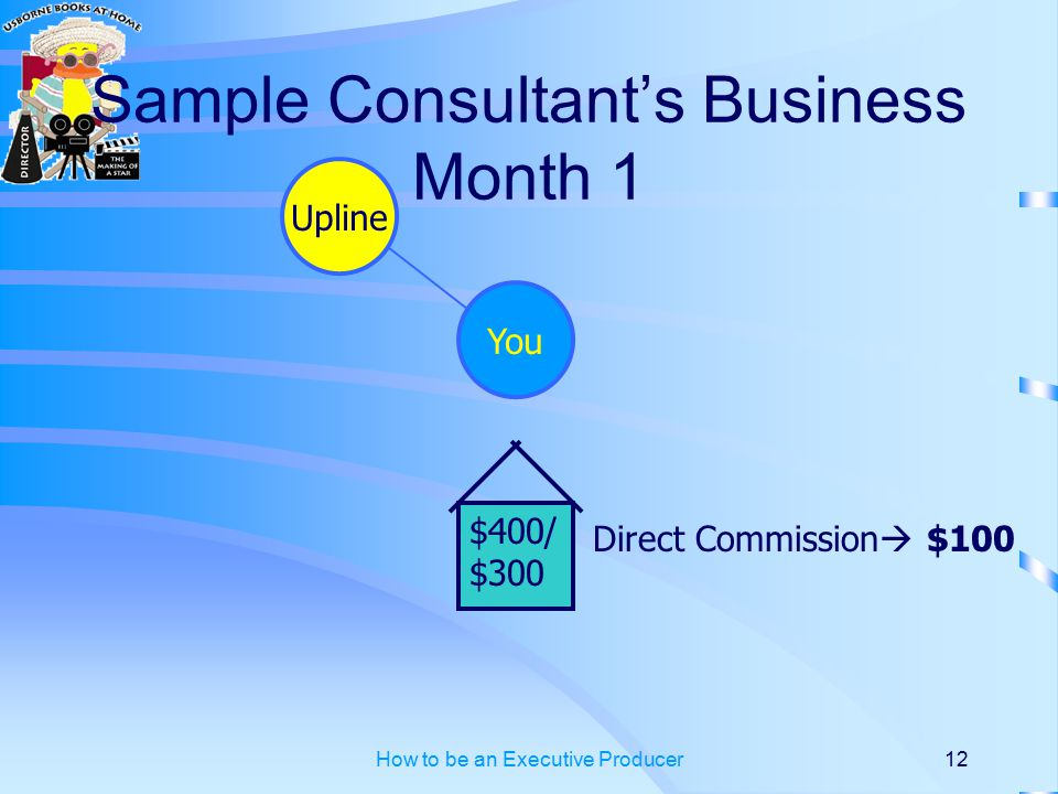 How to be an Executive Producer12 Sample Consultant's Business Month 1 You $400/ $300 Direct Commission  $100 Upline
