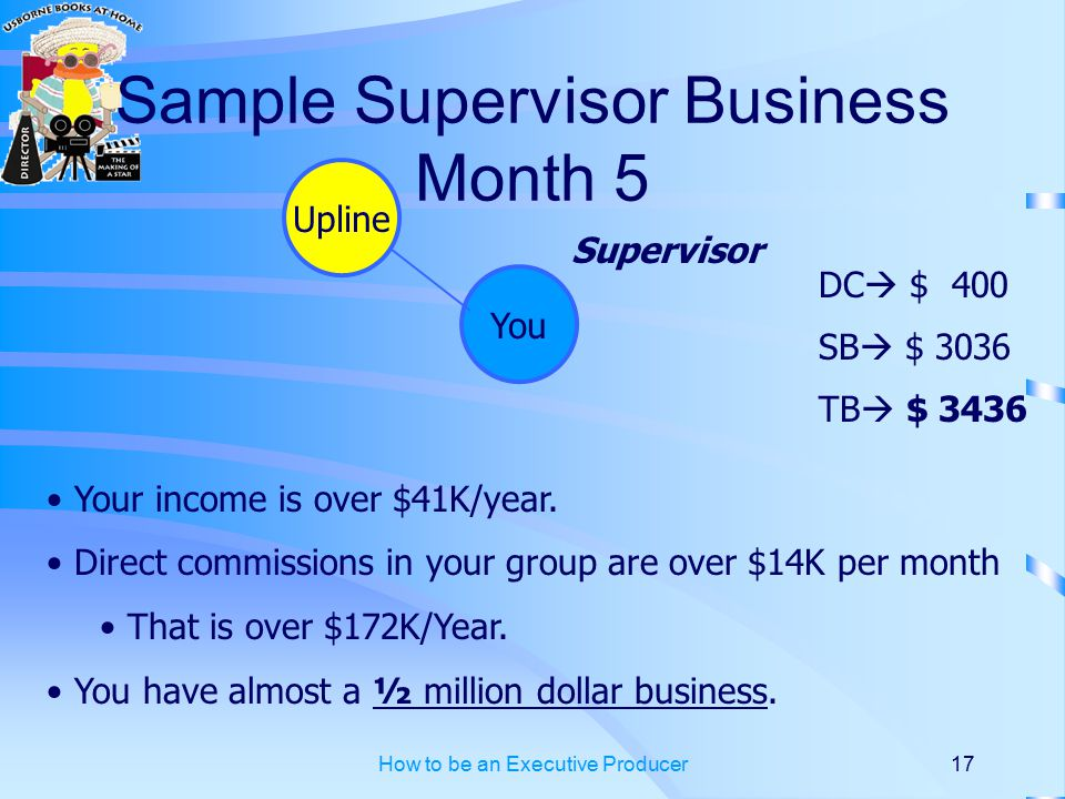 How to be an Executive Producer17 Sample Supervisor Business Month 5 You DC  $ 400 SB  $ 3036 TB  $ 3436 Your income is over $41K/year.