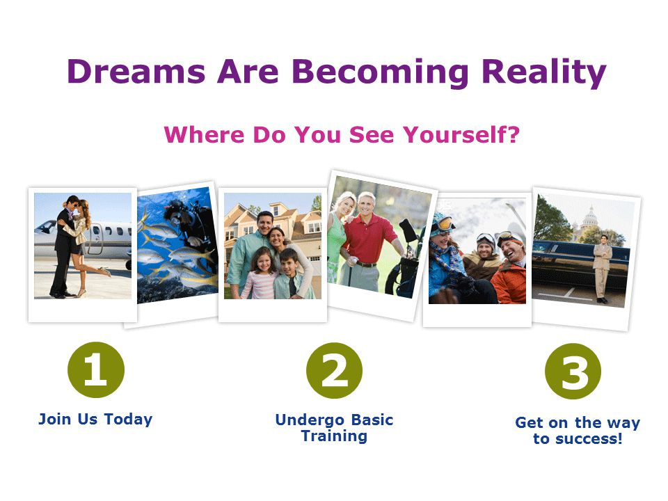 Dreams Are Becoming Reality Where Do You See Yourself? 1 Join Us Today 2 Undergo Basic Training 3 Get on the way to success!