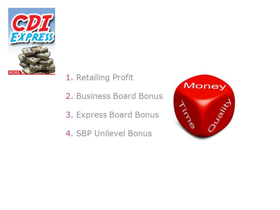1. Retailing Profit 2. Business Board Bonus 3. Express Board Bonus 4. SBP Unilevel Bonus