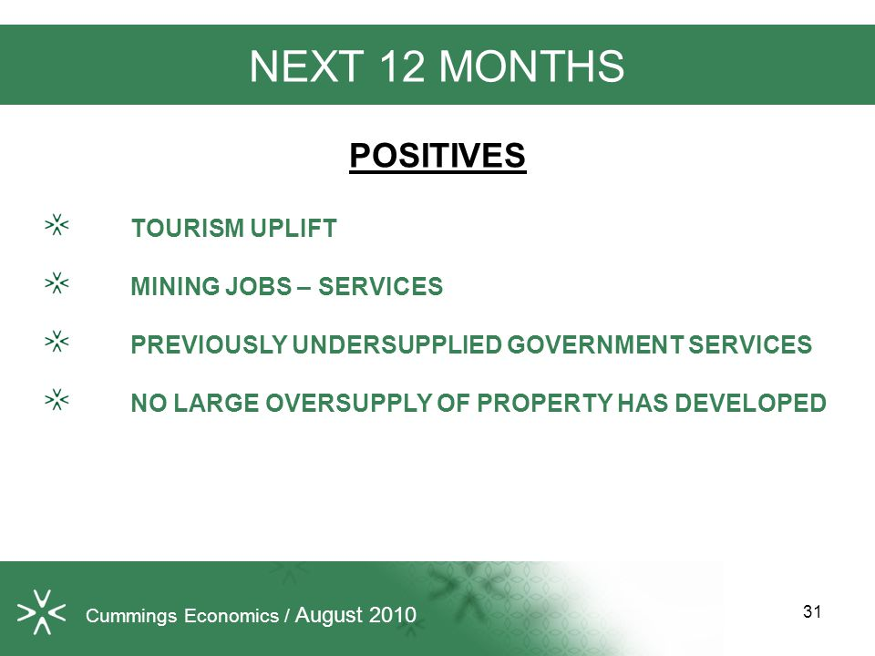 NEXT 12 MONTHS POSITIVES TOURISM UPLIFT MINING JOBS – SERVICES PREVIOUSLY UNDERSUPPLIED GOVERNMENT SERVICES NO LARGE OVERSUPPLY OF PROPERTY HAS DEVELOPED 31