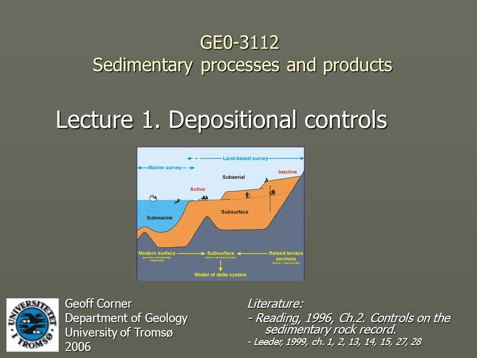 GE0-3112 Sedimentary processes and products Lecture 1.