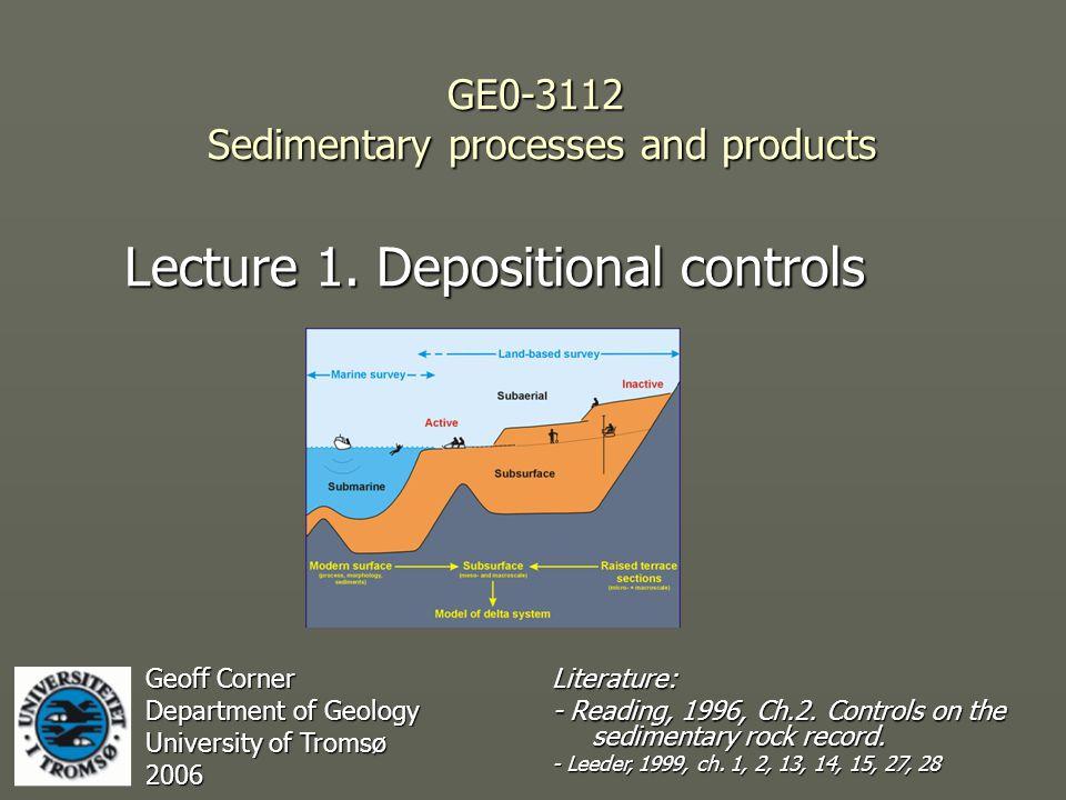 Depositional controls ► Sediment supply ► Accomodation space Corner, in press