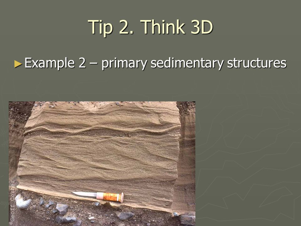 Tip 2. Think 3D ► Example 2 – primary sedimentary structures