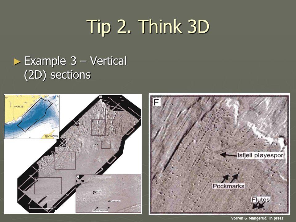 Tip 2. Think 3D ► Example 3 – Vertical (2D) sections Vorren & Mangerud, in press