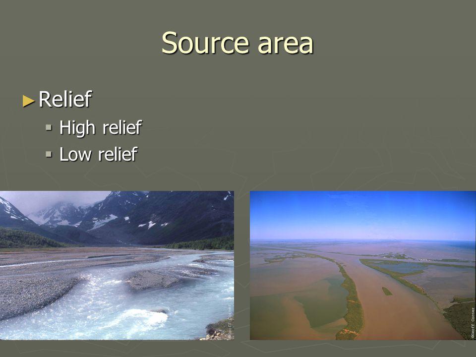 Source area ► Relief ► Bedrock  Hard crystalline  Soft sedimentary