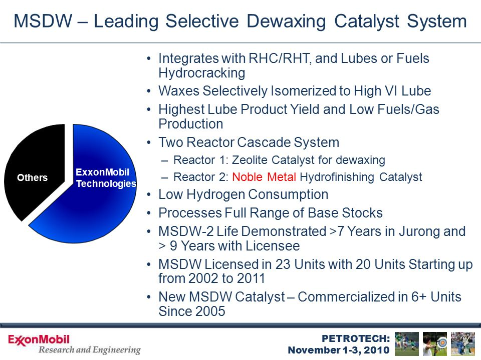PETROTECH: November 1-3, 2010 MSDW – Leading Selective Dewaxing Catalyst System Integrates with RHC/RHT, and Lubes or Fuels Hydrocracking Waxes Select