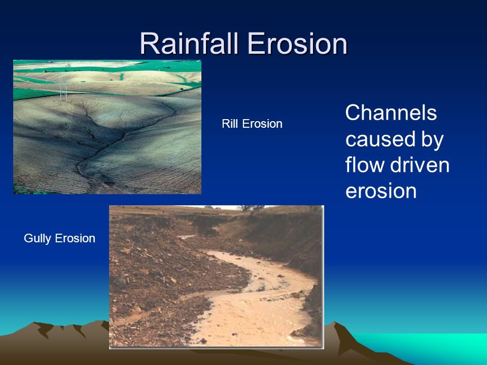 Rainfall Erosion Channels caused by flow driven erosion Rill Erosion Gully Erosion