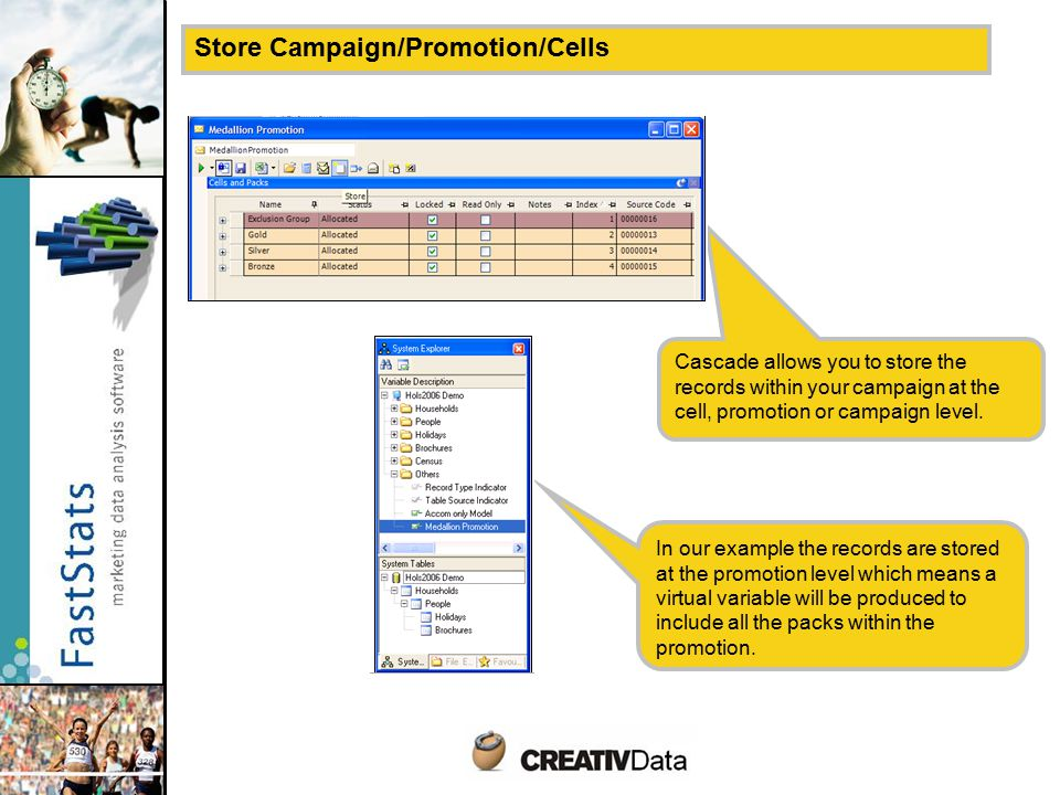 Store Campaign/Promotion/Cells Cascade allows you to store the records within your campaign at the cell, promotion or campaign level.