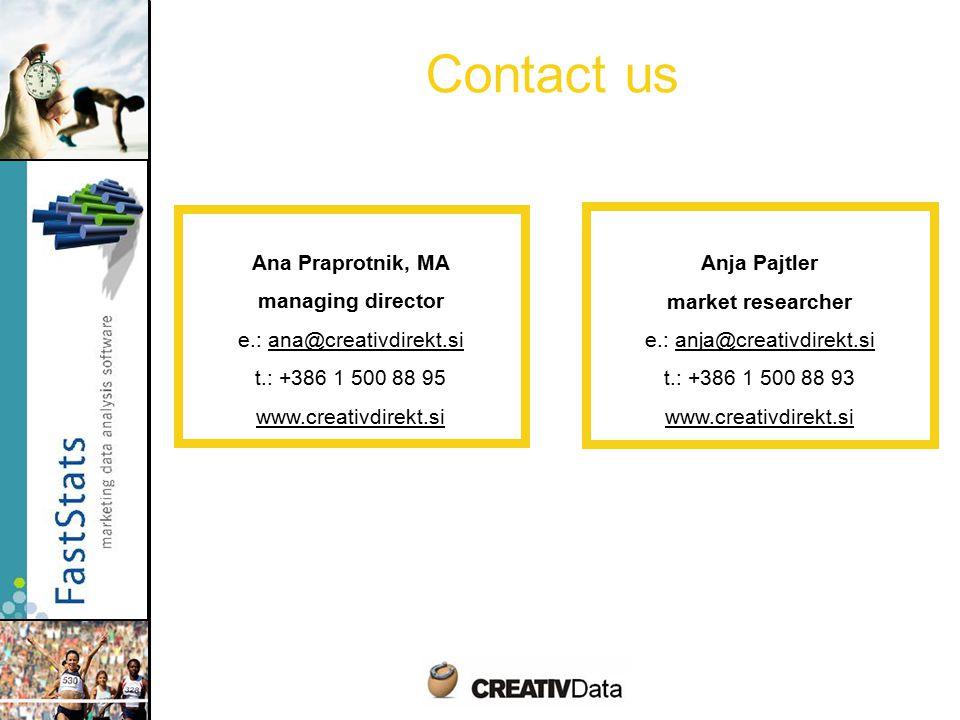 Contact us Ana Praprotnik, MA managing director e.: ana@creativdirekt.si t.: +386 1 500 88 95 www.creativdirekt.si Anja Pajtler market researcher e.: anja@creativdirekt.si t.: +386 1 500 88 93 www.creativdirekt.si