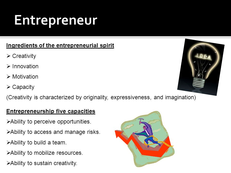 Ingredients of the entrepreneurial spirit  Creativity  Innovation  Motivation  Capacity (Creativity is characterized by originality, expressiveness, and imagination) Entrepreneurship five capacities  Ability to perceive opportunities.