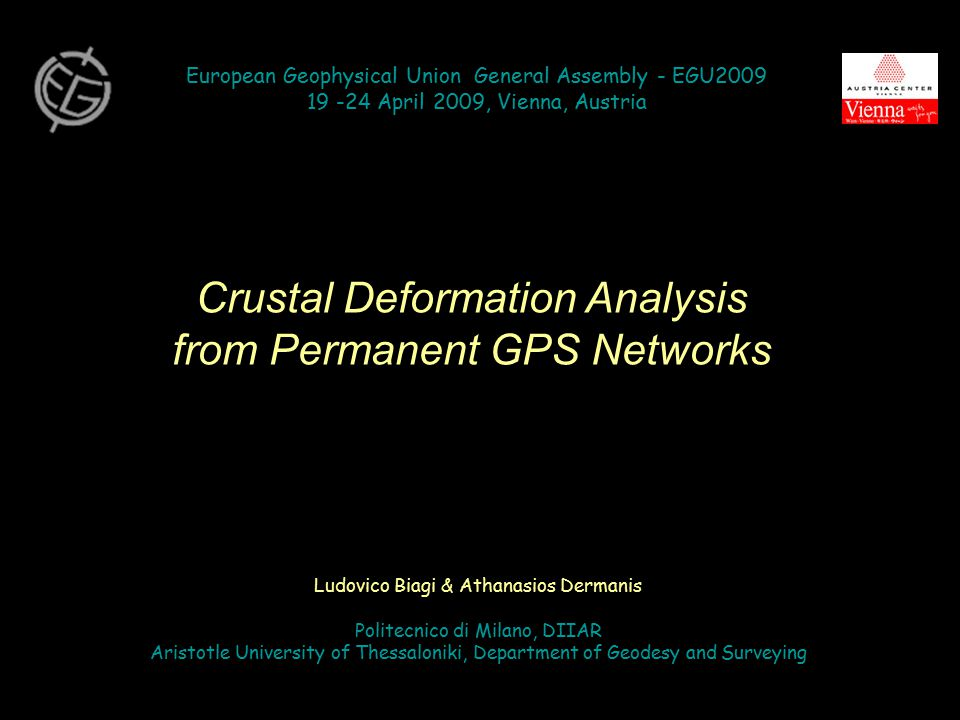 SPATIAL INTERPOLATION for the determination of or Classical horizontal deformation analysis Strain tensor E : description of (quadratic) variation of length element Geodetic data: Discrete initial coordinates x 0i and velocities v i at GPS permanent stations P i Displacements: u i = (t – t 0 ) v i Require: DIFFERENTIATION for the determination of or