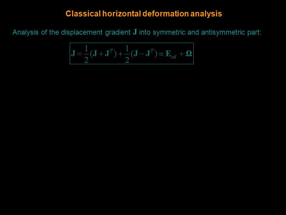 Analysis of the displacement gradient J into symmetric and antisymmetric part: Classical horizontal deformation analysis