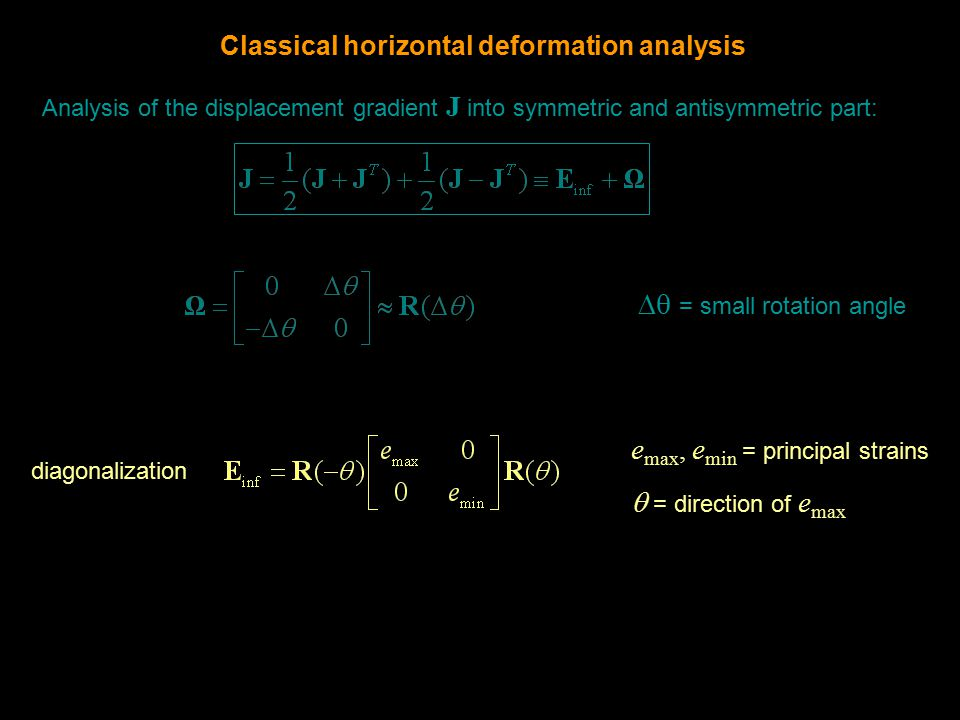 Analysis of the displacement gradient J into symmetric and antisymmetric part: diagonalization e max, e min = principal strains  = direction of e max  = small rotation angle Classical horizontal deformation analysis