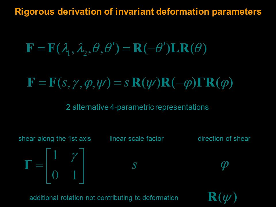 Rigorous derivation of invariant deformation parameters shear along the 1st axis linear scale factordirection of shear additional rotation not contributing to deformation 2 alternative 4-parametric representations