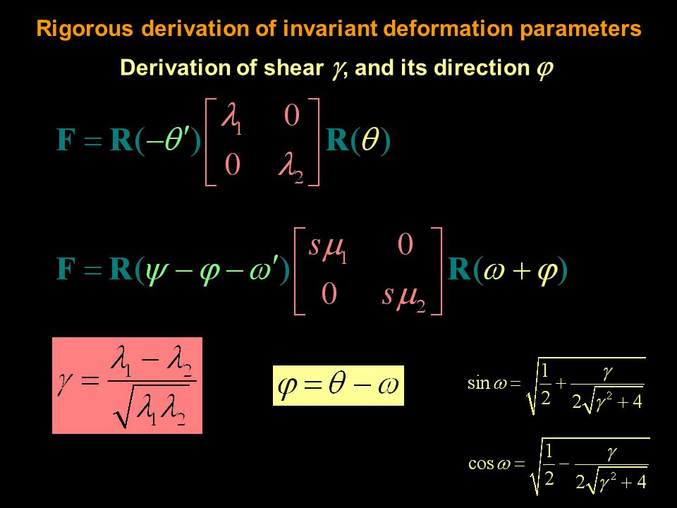 Rigorous derivation of invariant deformation parameters Derivation of shear , and its direction 