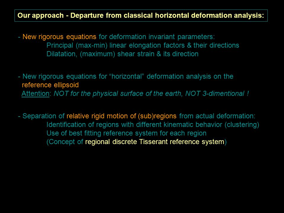 Actual deformation is 3-dimensional Horizontal deformation on ellipsoidal surface