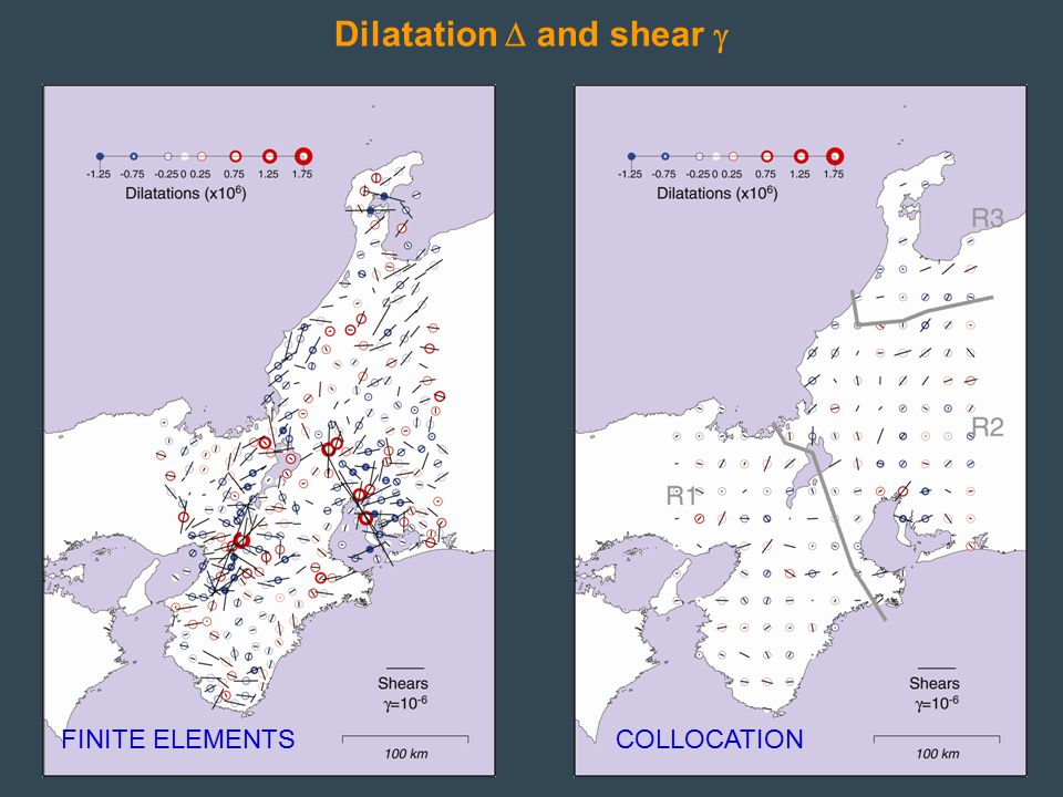 Dilatation  and shear  FINITE ELEMENTSCOLLOCATION