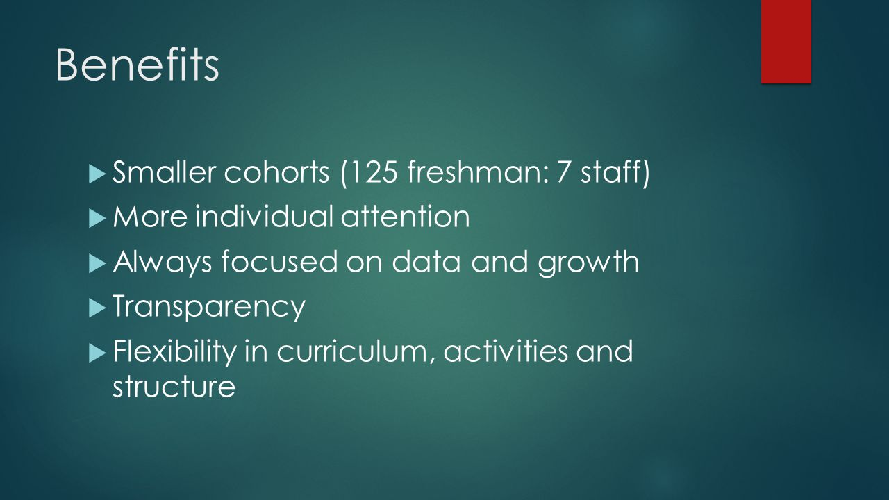 Benefits  Smaller cohorts (125 freshman: 7 staff)  More individual attention  Always focused on data and growth  Transparency  Flexibility in curriculum, activities and structure