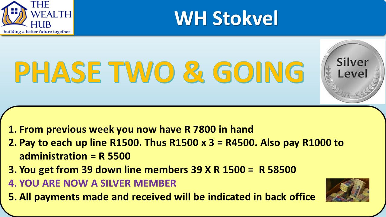 WH Stokvel WH Stokvel 1.From previous week you now have R 7800 in hand 2.Pay to each up line R1500. Thus R1500 x 3 = R4500. Also pay R1000 to administ
