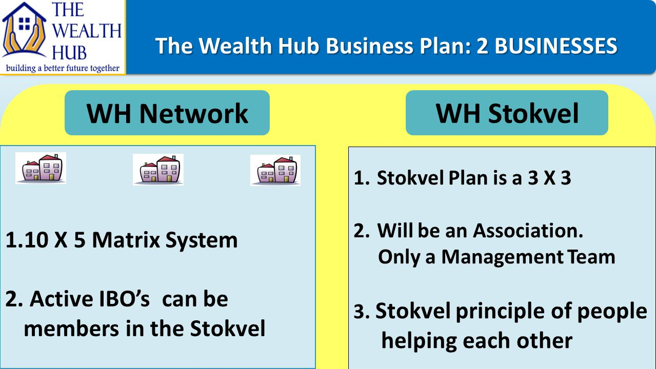 The Wealth Hub Business Plan: 2 BUSINESSES The Wealth Hub Business Plan: 2 BUSINESSES WH Network WH Stokvel 1.10 X 5 Matrix System 2. Active IBO's can