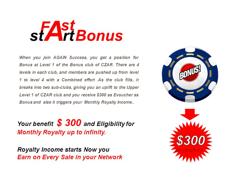 When you join AGAIN Success, you get a position for Bonus at Level 1 of the Bonus club of CZAR. There are 4 levels in each club, and members are pushe