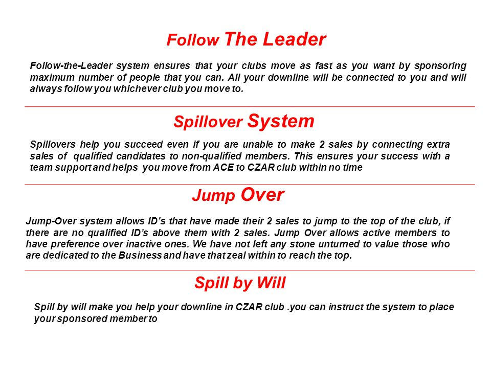 Follow The Leader Spillover System Jump Over Spill by Will Follow-the-Leader system ensures that your clubs move as fast as you want by sponsoring max