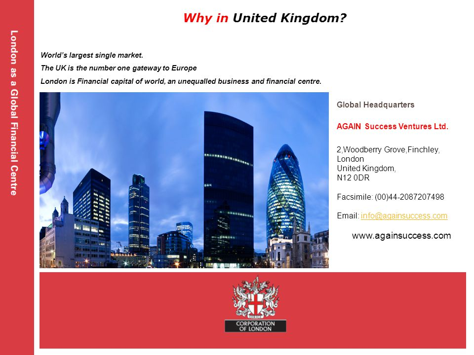 Global Headquarters AGAIN Success Ventures Ltd. 2,Woodberry Grove,Finchley, London United Kingdom, N12 0DR Facsimile: (00)44-2087207498 Email: info@ag
