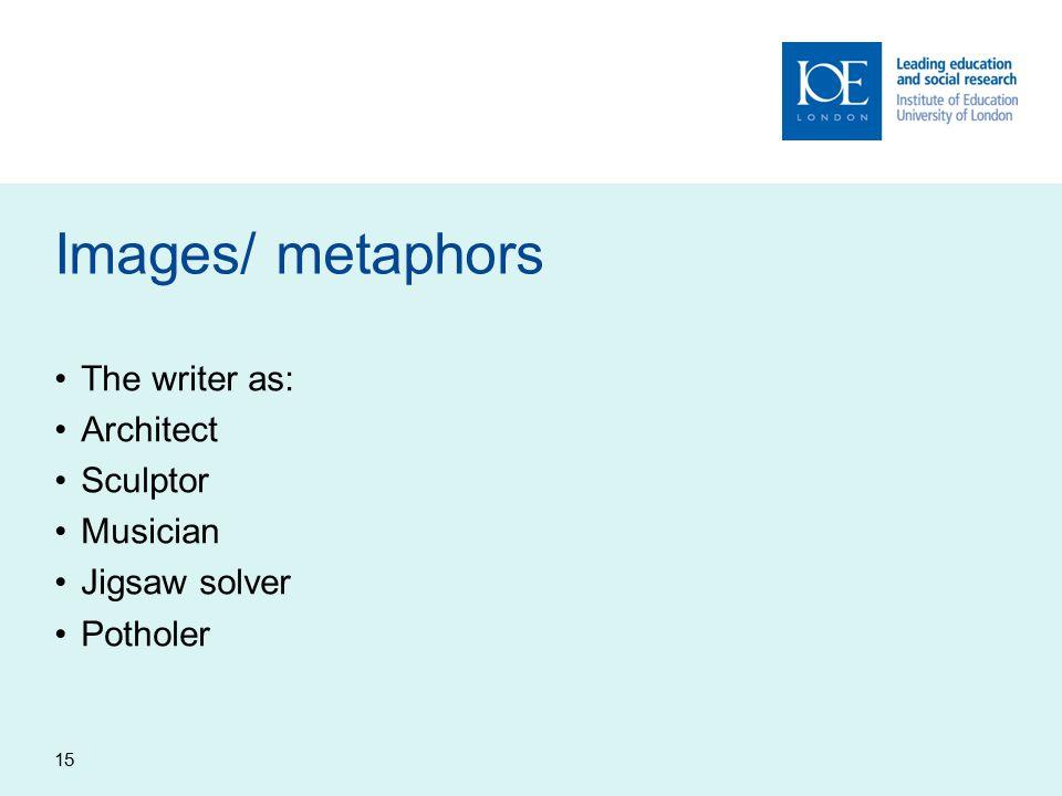 15 Images/ metaphors The writer as: Architect Sculptor Musician Jigsaw solver Potholer