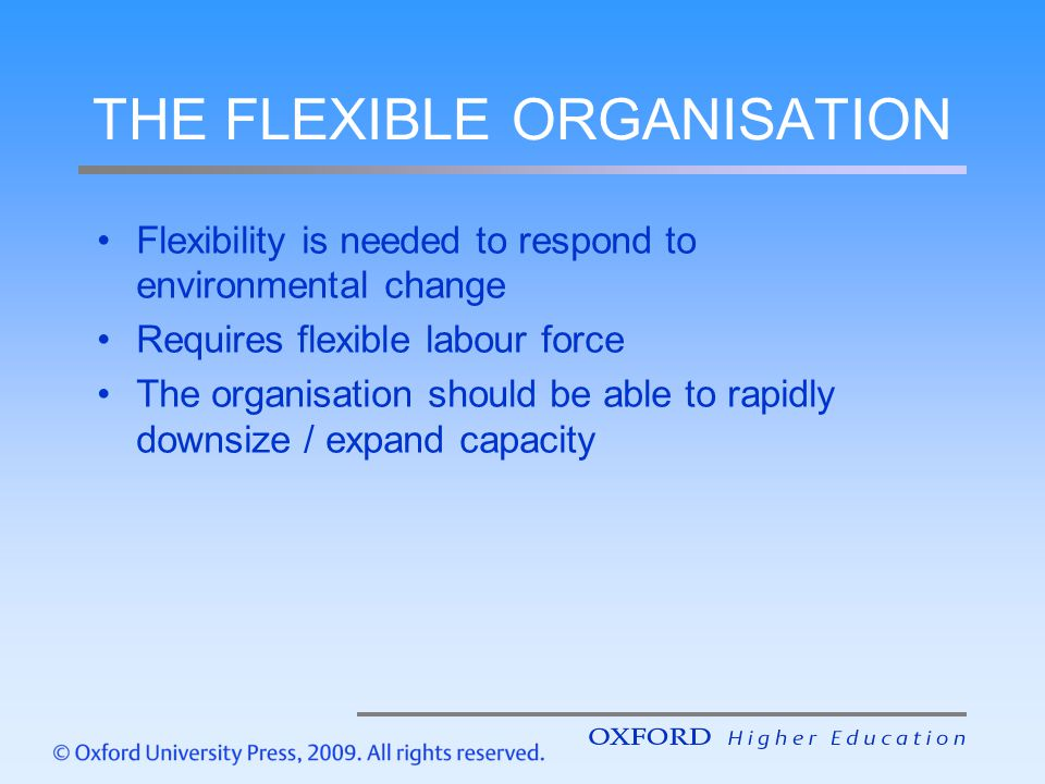 THE FLEXIBLE ORGANISATION Flexibility is needed to respond to environmental change Requires flexible labour force The organisation should be able to r