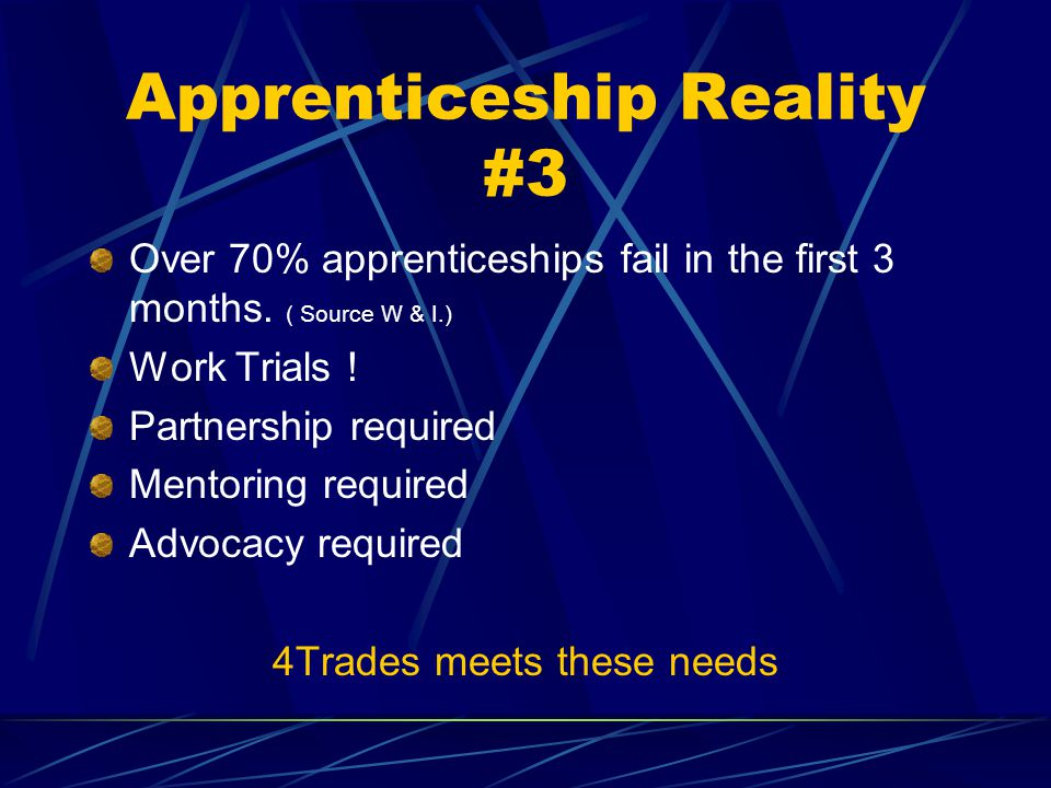 Apprenticeship Reality #3 Over 70% apprenticeships fail in the first 3 months.