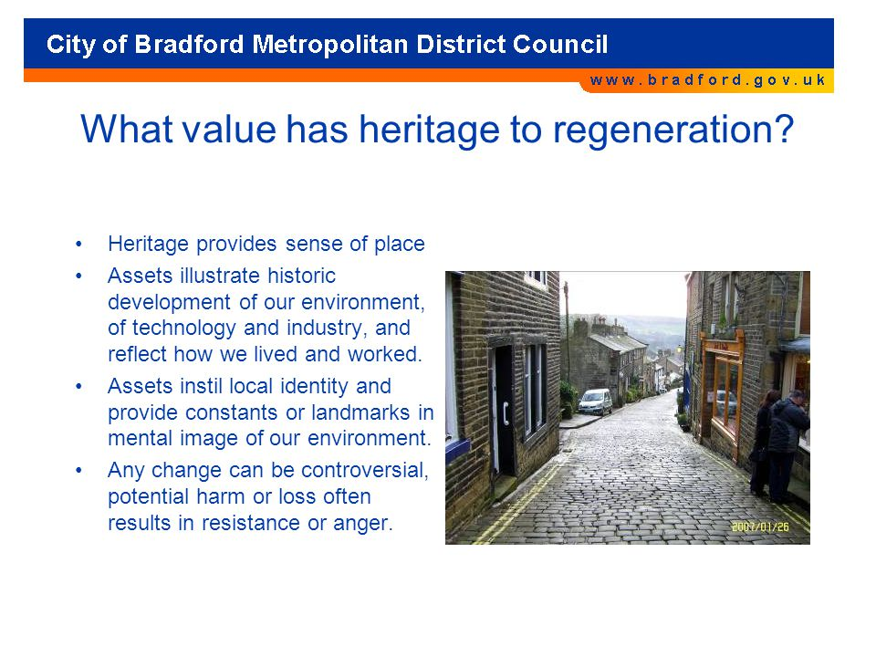 What value has heritage to regeneration.