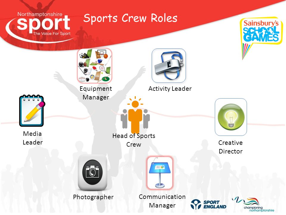 Sports Crew Roles Equipment Manager Activity Leader Creative Director Communication Manager Photographer Media Leader Head of Sports Crew