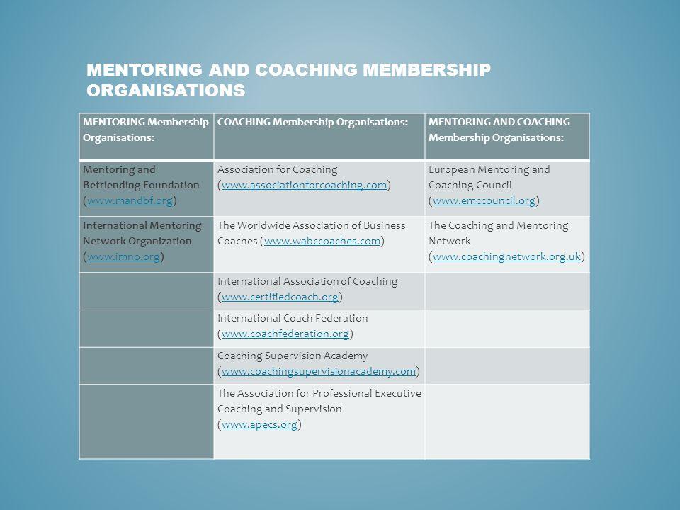 MENTORING Membership Organisations: COACHING Membership Organisations: MENTORING AND COACHING Membership Organisations: Mentoring and Befriending Foun
