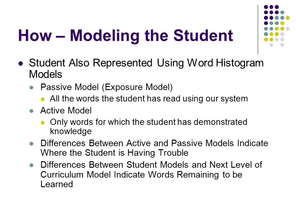 How – Modeling the Student Student Also Represented Using Word Histogram Models Passive Model (Exposure Model) All the words the student has read using our system Active Model Only words for which the student has demonstrated knowledge Differences Between Active and Passive Models Indicate Where the Student is Having Trouble Differences Between Student Models and Next Level of Curriculum Model Indicate Words Remaining to be Learned