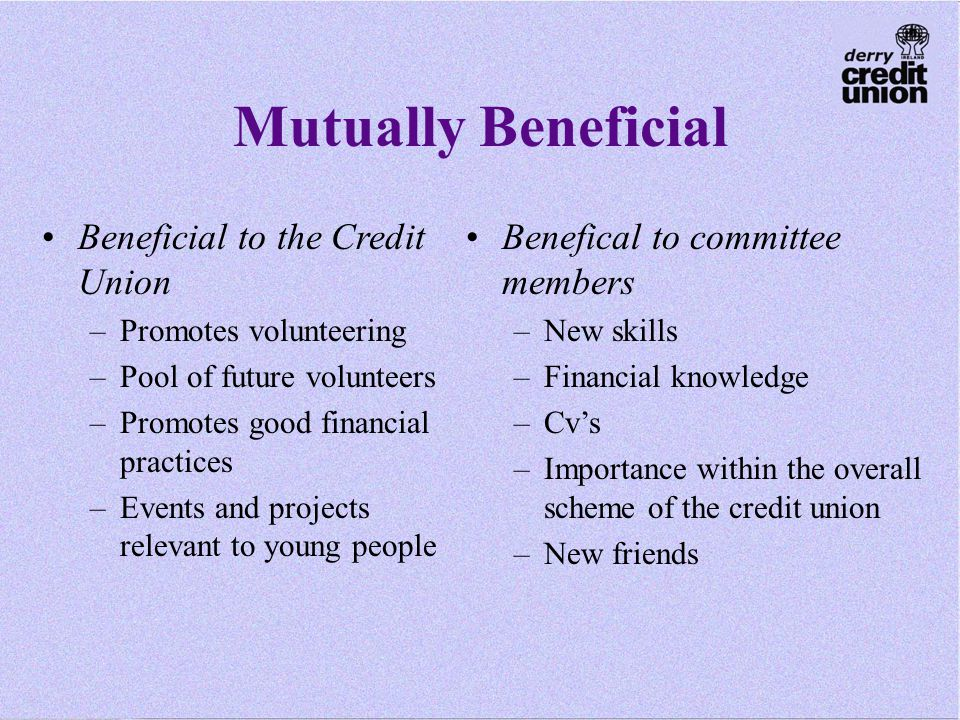 Mutually Beneficial Beneficial to the Credit Union –Promotes volunteering –Pool of future volunteers –Promotes good financial practices –Events and projects relevant to young people Benefical to committee members –New skills –Financial knowledge –Cv's –Importance within the overall scheme of the credit union –New friends