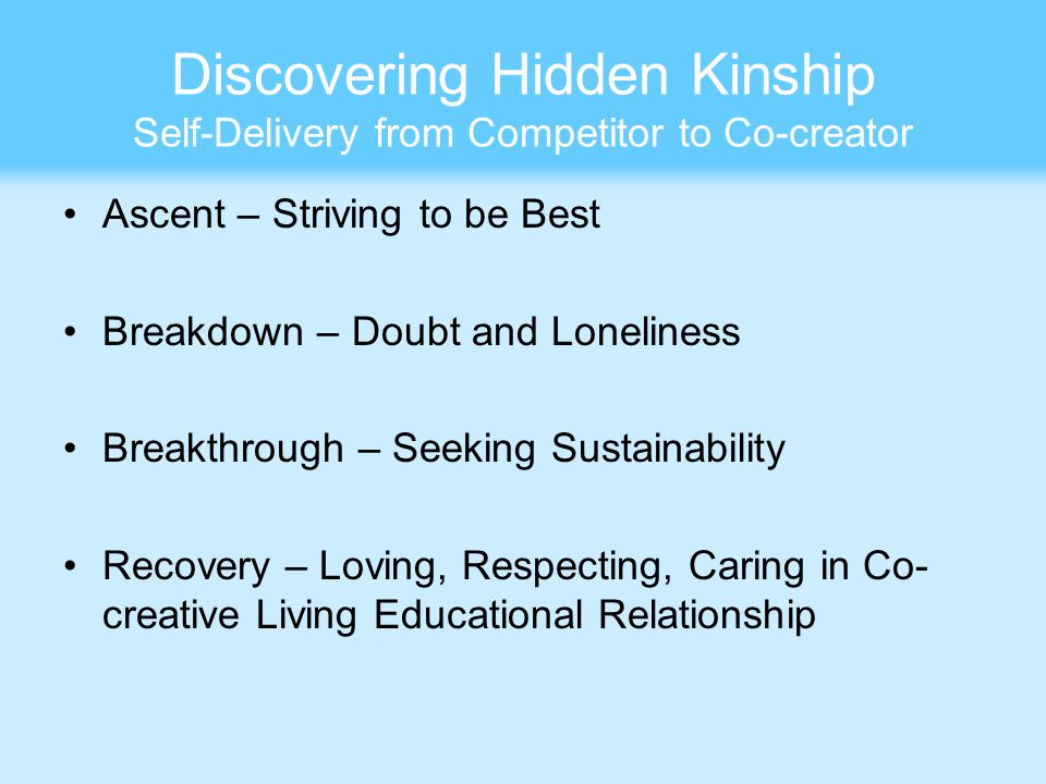 Discovering Hidden Kinship Self-Delivery from Competitor to Co-creator Ascent – Striving to be Best Breakdown – Doubt and Loneliness Breakthrough – Seeking Sustainability Recovery – Loving, Respecting, Caring in Co- creative Living Educational Relationship