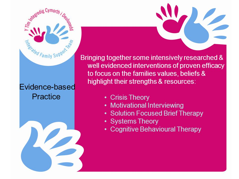 Evidence-based Practice Bringing together some intensively researched & well evidenced interventions of proven efficacy to focus on the families values, beliefs & highlight their strengths & resources: Crisis Theory Motivational Interviewing Solution Focused Brief Therapy Systems Theory Cognitive Behavioural Therapy