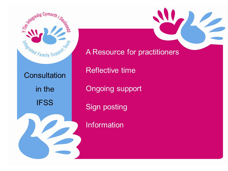 Consultation in the IFSS A Resource for practitioners Reflective time Ongoing support Sign posting Information