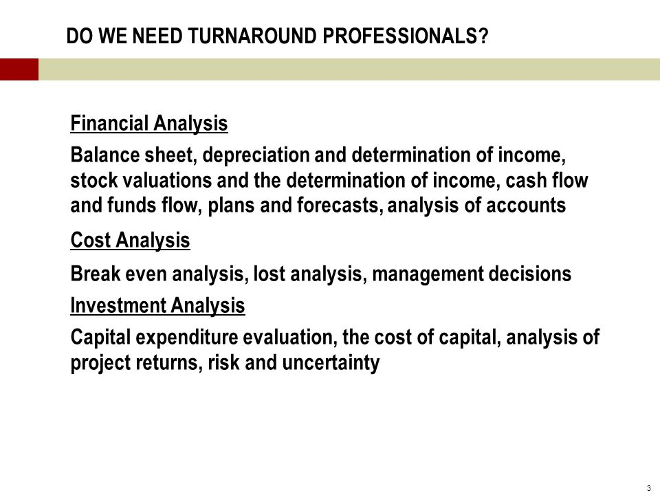 3 DO WE NEED TURNAROUND PROFESSIONALS.